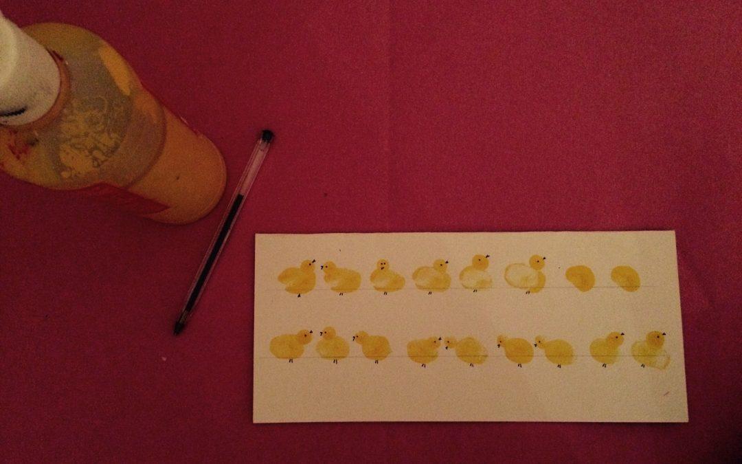 Finger printing easter chicks…