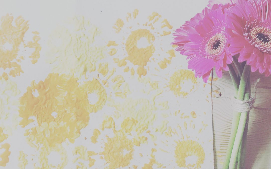 Printing with flowers for Father's Day Card